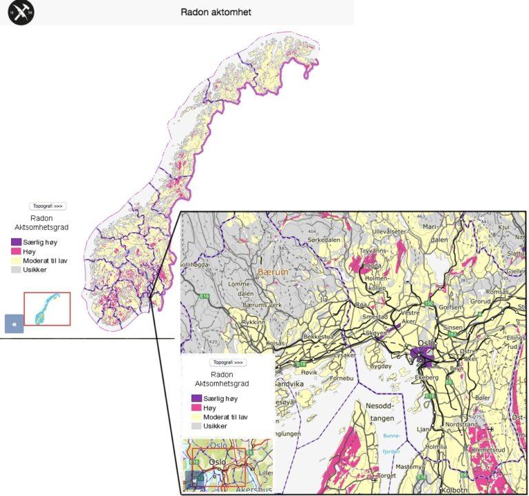 kart radon Om Radongass og hvordan måle radon – Gode ventilasjonsløsninger  kart radon