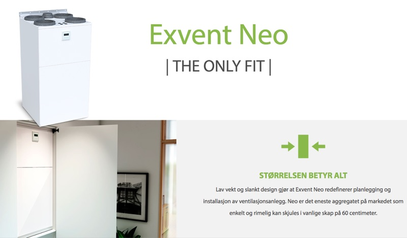 Exvent Neo Plassbesparende