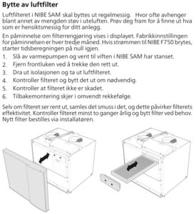Filterbytte Filter til Nibe SAM tilluftsmodul - SAM 40 og SAM 41